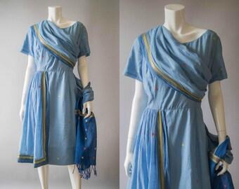 vintage 1960s dress / 60s blue sari-style dress / large / Sari Charlie Dress