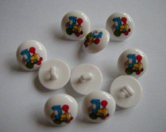 10 Round White Train Buttons