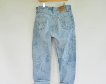 Men's Levi's Jeans Size 35/33 90's Era 505 Regular Fit Straight Leg Bleached Tie Dye Look Vintage Levi's Men's Jeans