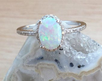 Sterling Silver Opal Ring with Halo FREE Gift Box & FREE Shipping Codes Below Alternative Bride Rings Opal Engagement Ring Promise Ring