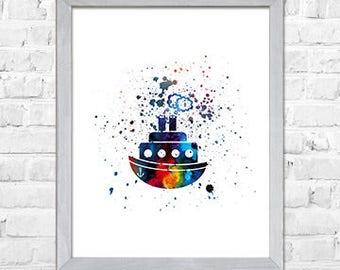 Kids Wall Art Print, Sail Boat Art, Nautical Nursery Print,  Kids Art Print, Kids Wall Decor, Blue Nursery Art,Room Wall Decor,8x10 Print