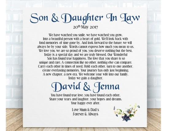 Daughter In Law Personalized Poem: Son & Daughter In Law Poem Ceramic By PureEssenceGreetings
