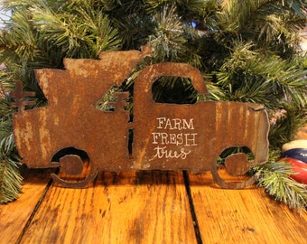 Metal Truck with Christmas Tree,rusty metal,vintage truck,farm fresh trees,rustic,farmhouse,repurposed,upcycled,christmas decoration,mantle