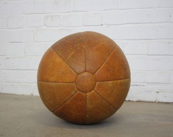 Large East German Leather Medicine Ball Circa 1950's