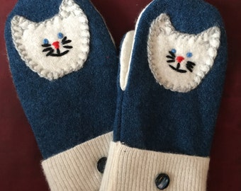 G17   Sweet blue and cream felted wool mittens with hand appliqué