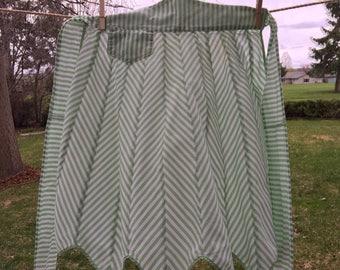 Vintage Green Stripe Half Apron