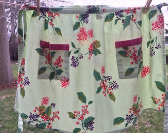Vintage Half Apron, Light Green With Berry Print