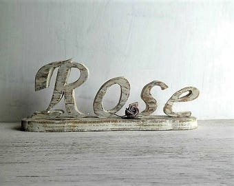 """Wooden home decor """"Rose"""" - wooden letters shabby country chic white MADE TO ORDER"""