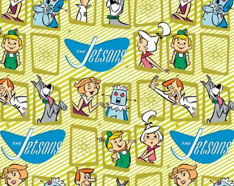 Jetsons Fabric Retro Frames in Green From Camelot 100% Cotton