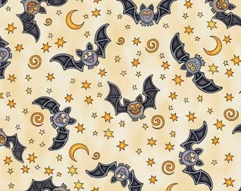 Bat Fabric Halloween Fabric Creepy Hollow Cream From Quilting Treasures 100% Cotton
