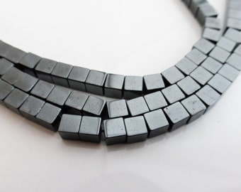 Hematite Square Cube Beads 4mm x 4mm Black Non-Magnetic - 1 Strand (approx 93 beads), Craft Supplies, UK Seller (GB1067)