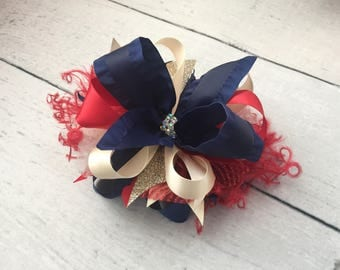 Ivory, Navy and Red patriotic bow