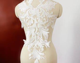 1PC Lace Applique,Off-White Lace Applique,Wedding Dress Applique,Bridal Dress Appique,High Quality Lace Fabric