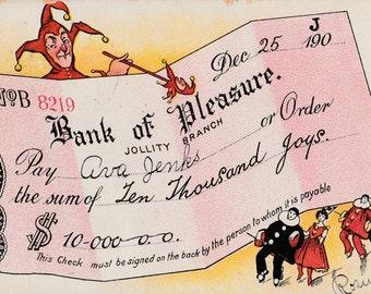 Court Jester Bank of Pleasure Jollity Branch Antique Postcard