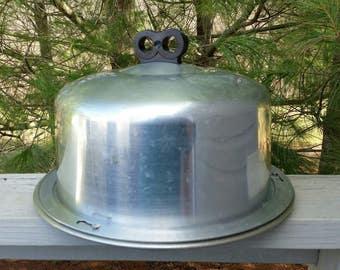 Regal Aluminum Cake Carrier with Black Bakelite Finger Hole Handle