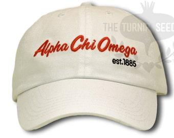 Alpha Chi Omega Baseball Cap - Team Script - Custom Color Hat and Embroidery.