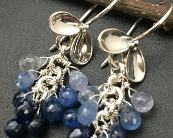 Blue Sapphire Briolette Earrings, Blue Sapphire Cluster Earrings, Genuine Sapphire Earrings, Earrings under 200