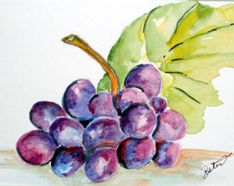PURPLE GRAPES - Original Watercolor