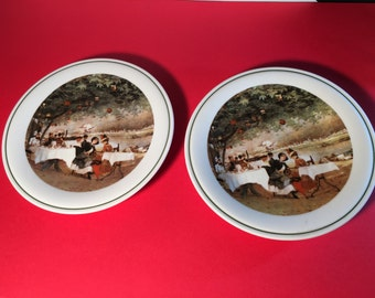 Richard Ginori Pair Plates Vintage 1970s Made in Italy