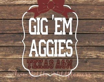 Texas A&M School Spirit Decal, Aggies, Gig Em Aggies, Car Decal, Yeti Decal
