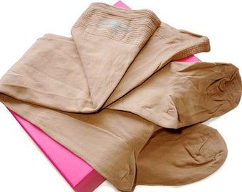 Vintage Stockings,Opaque Beige Stockings,Size 9-11 1/2,Nylon Garter Stockings,Unworn Hosiery,New Old Stock Nylons