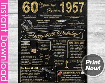 60th Birthday Gift, 60th Birthday Gifts for Women, Printable 60th Birthday Chalkboard Poster Sign Party Decoration 1957 Birthday Props Decor