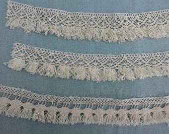 Cotton Lace Trim by the yard, Fringe trim,  Cotton Lace Fringe, Ivory Trim, Tassel Trim, Cream Fringe, Ivory Chainette Fringe