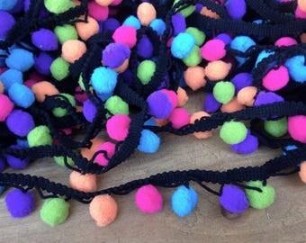 Multi color Pom Pom/Pom Pom Garland/Pompom/Pompom Trim/Ball fringe/Nursery/pillow pompom/blanket trims pompom