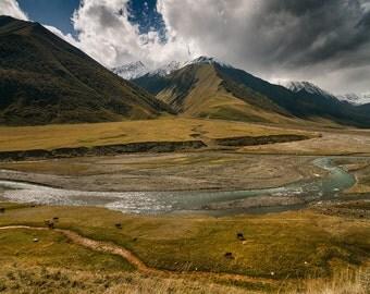 Landscape Photography, Nature Photography, Wall Decor, Georgia, Balkan, Mountain,Sky, Snow, Asia,Europe,Autumn, Animals, River