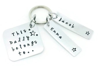 Personalised Dad Daddy Key Ring, This Daddy Belongs To Hand Stamped Personalised Key Ring, Personalised Fathers Day, Gift For Dad, Keychain
