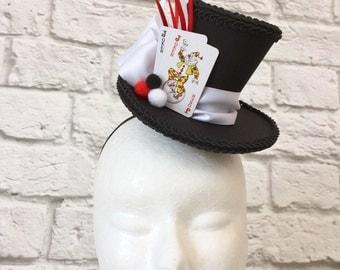 Joker Mini Top Hat, Playing Cards Mini Top Hat, Casino Hat
