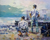 """Gay Art Painting,  Male Nude Art Painting, Gay Male Nude -- 20x24"""" --222"""