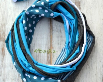 Blue dots - infinity pachwork scarf with tshirt yarn mixed media upcycled scarf Bohemian style boho fashion eco style recycled scarves