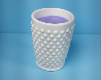 Lavender Natural Soy Candle in White Hobnail Vintage Juice Cup
