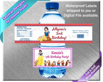 Snow White and the Seven Dwarfs Water Bottle Labels - PRINTED OR FILE - Birthday Party Supplies Favors