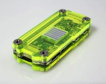 Zebra Zero for Raspberry Pi Zero & Zero Wireless - Laser Lime w Heatsinks ~ C4Labs