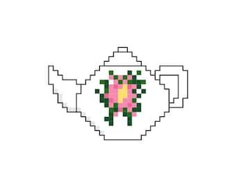 Cross Stitch Teapot Kitchen Magnet Pattern Design Chart Refrigerator Kitchen Home Decor Magnet PDF Digital File Instant Download