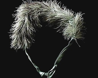 Rare 1920's OSTRICH Chinchilla Feather BOA Collar-Shawl of Charcoal Grey and Off White Mix with Satin Ties