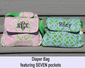 Monogrammed Diaper Bag, Diaper Bag, Personalized Diaper Bag, Baby Bag, Monogrammed Baby Bag, Personalized Baby Bag, Baby Girl