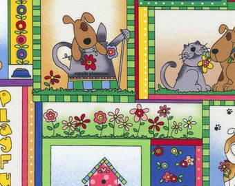 Love is a 4 Legged Word ~Animal Squares~Cotton Fabric, Quilt,by Fabriquilt~Fast Shipping,N432