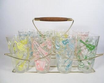 Mid Century Set of 8 Musical Instruments Tumblers Glasses with Rack - Hazel Atlas Music Glassware