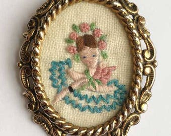 Mid Century, Hand Embroidered, Lovely Girl Brooch