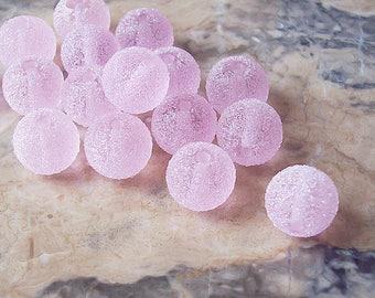 Pink Sugar Handmade Lampwork Glass Beads  (2 pcs). Pink Round Lampwork Beads. Pink Lampwork Marmalade. Winter Theme Lampwork Beads.