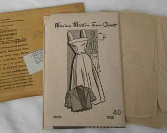 1940s Marian Martin Mail Order Sewing Pattern T9026 Size 40 Bust Sun Dress Bolero Jacket