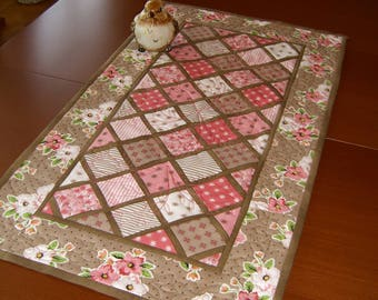 Coral patch quilted table runner
