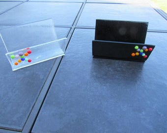 A set of two Kiln Formed Glass Business Card Holder