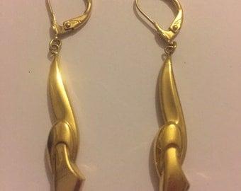 Vintage Art Deco Gold Double Dangly Earrings - Lever Backs