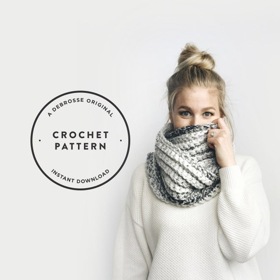 CROCHET PATTERN ⨯ Chunky Infinity Circle Scarf, Ribbed  ⨯ The Léogâne