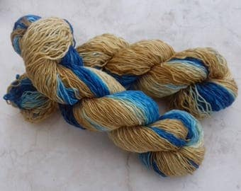 Sock knitting  Yarn wool Blues/mustard.