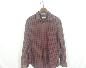 Vintage Men's Levy's Nashville tan plaid shirt L/XL